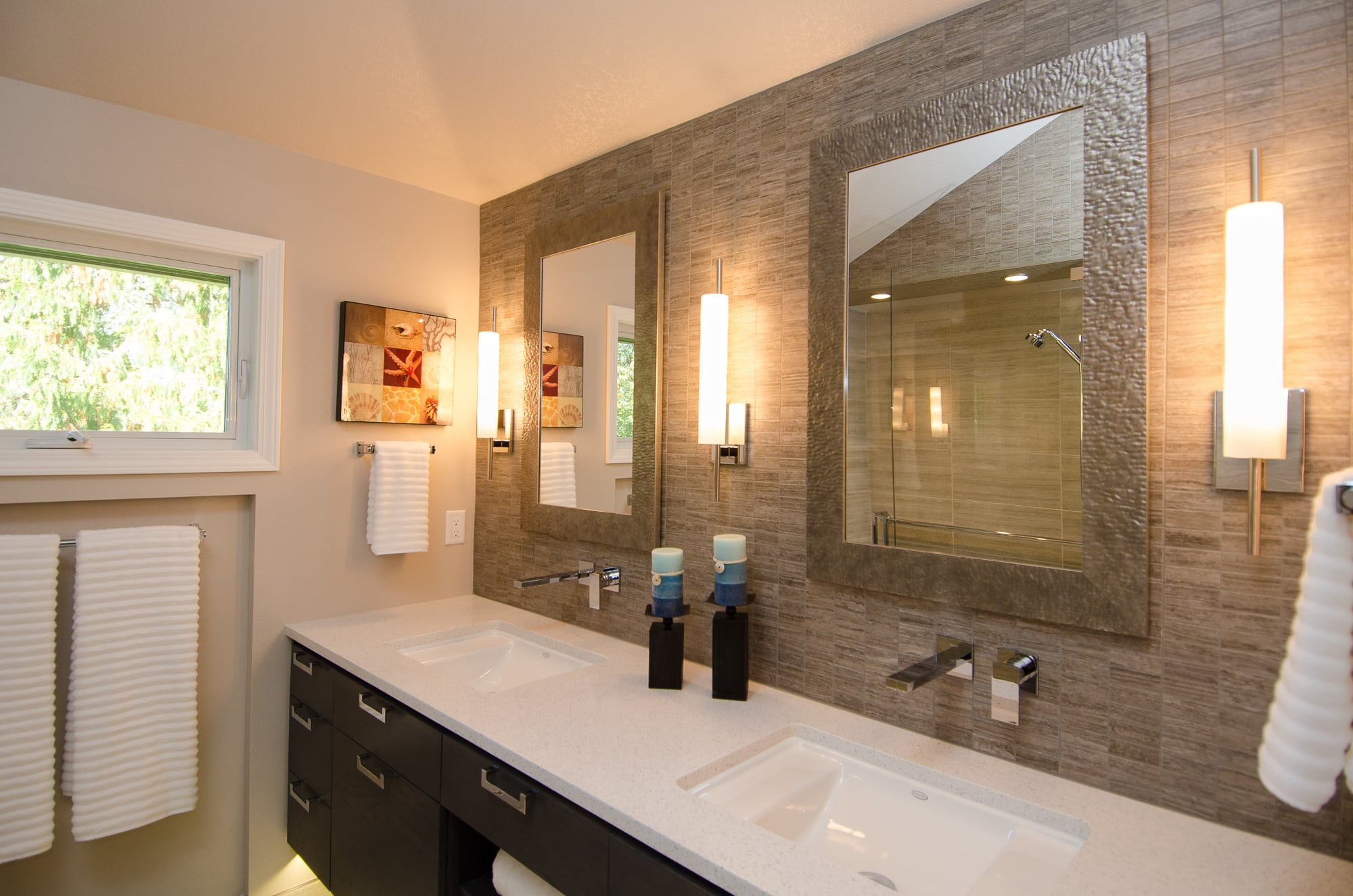 Double Sink Vanity with Wall mounted faucets