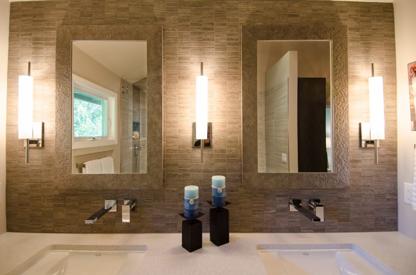 Pangaea interior design contemporary master bathroom for Contemporary bathroom wall sconces