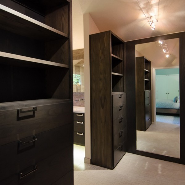 Pangaea Interior Design Master Closet In Custom Gray Ash Cabinetry