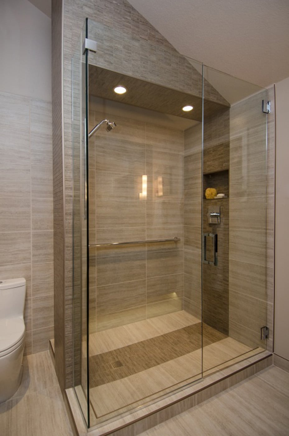 Pangaea interior design contemporary master bathroom with vaulted ceiling Bathroom tile showers
