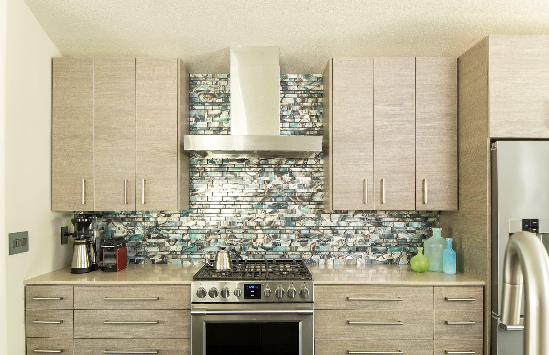 Sherwood Kitchen Turquoise glass backsplash